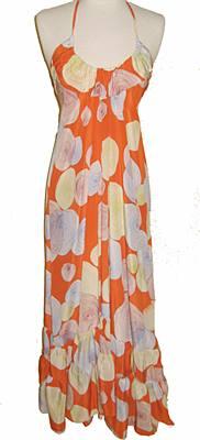 Maxi Ruffle Dress, Silk, Orange Print