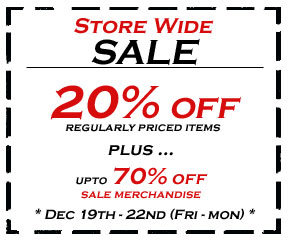 20% off, regularly priced items !!! ... Plus, upto 70% off SALE items !!!